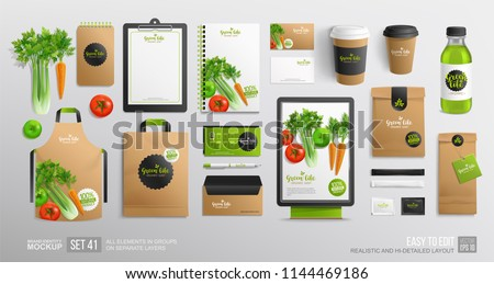 Realistic Brand identity Mock-Up set with vegetal logo for Vegan Cafe, restaurant and natural organic food shop. Vector vegetables. Stationery branding mock up organic package, juice bottle