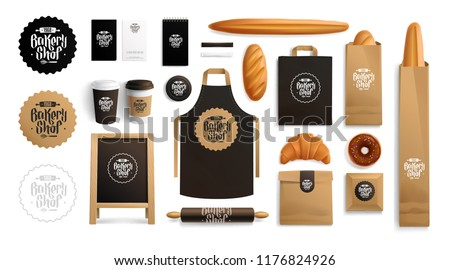 Realistic brand identity Mockups set for Bakery shop with vintage lettering logo. Corporate style Bakery food package mockup. Realistic MockUp set of logo, pastry, uniform, cup, apron, paper bag