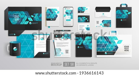 Realistic Branding Stationary items and objects vector Mockup. Minimalistic Corporate Brand Identity design on stationery elements, A4 letterhead blank folder, mug. Paper bag. Vector template