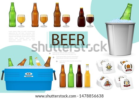Realistic brewing composition with beer glasses bottles in box and bucket with ice and beverage coasters vector illustration