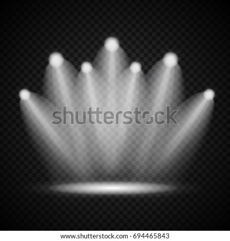 Realistic Bright Projectors Lighting Lamp with Spotlights Lighting Effects with Transparency Isolated on Transparent Background. Vector Illustration EPS10 #694465843