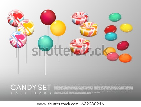 Realistic bright round candies set with different lollipops on and without sticks isolated vector illustration