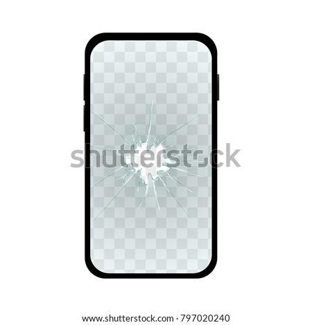 Realistic Broken Screen Simple Phone. EPS10 Vector