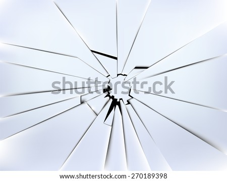 realistic broken window's glass