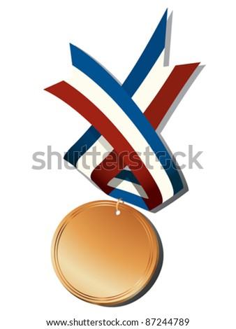 Realistic bronze medal and ribbon, isolated objects over white background