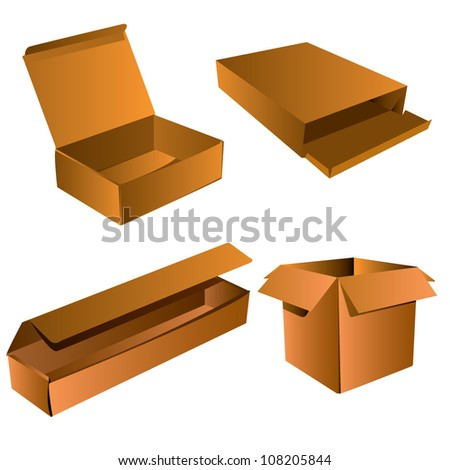 Realistic Brown Box, Cardboard Box, packaging