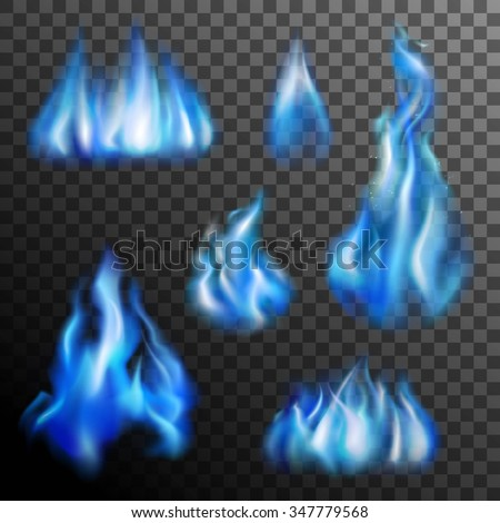 realistic burning blue fire
