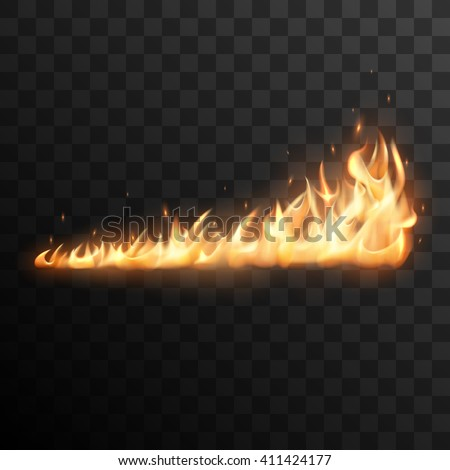 Realistic burning fire flames vector effect with transparency for design. Trail of fire.