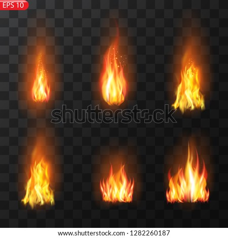 Realistic burning fire flames vector effect with transparency for design. Trail of fire.Burning flames translucent elements special Effect.
