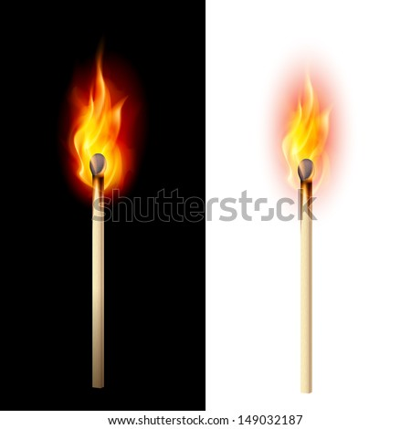 Realistic burning match. Illustration on white and black