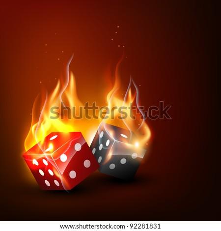 realistic burning vector dice