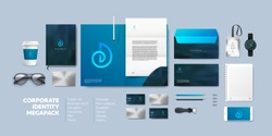 Realistic Business Branding mock-up of folder, blank A4, phone, envelope, notebook, badge and vizit card. Corporate Identity Brand Mockup set on light background. Blue seashell logo.