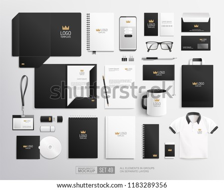 Realistic Business stationary Corporate identity mockup set of folder, blank, mug, brochure . Black and white corporate Identity Branding Mock-up set with crown logo. Office items and objects mockups
