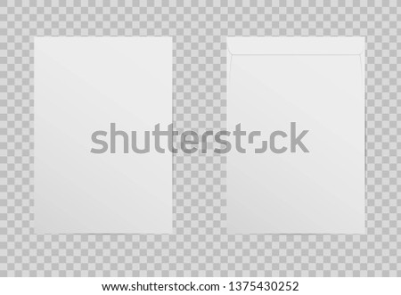 Realistic C4 blank envelope isolated on transparent background. A4 mock up white paper letter with shadow. Envelopes for vertical document. Vertical postage. Vector illustration