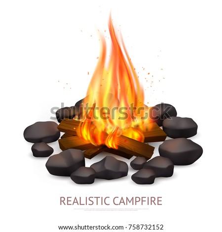 realistic campfire composition