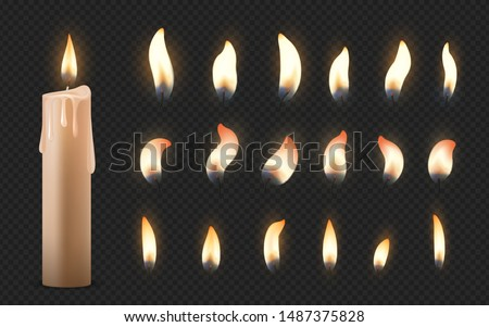 Realistic candles. 3D burning celebration wax candles with different small glowing flames. Vector fire illumination birthday party, church candles set on black transparent background ストックフォト ©