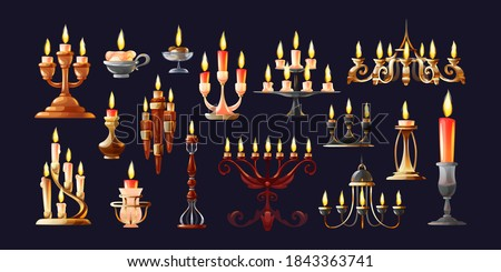 Realistic candles in candlesticks set. Retro vintage candle holders, chandelier and candelabrums with burning flames. Household and church items vector Stockfoto ©