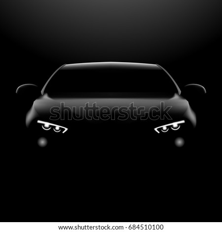 Realistic Car In The Dark. Front View. EPS10 Vector