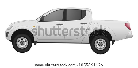 Realistic car model. All elements car in groups on separate layers. The ability to easily change the color. vector car  illustration. Side view. White body color. Pick up body. Pickup truck. 4x4.