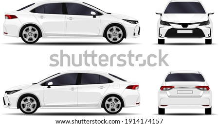 realistic car. sedan. front view; side view; back view.