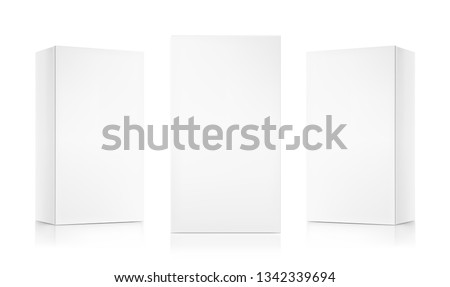 Realistic cardboard boxes mockup set. Front and perspective views. Vector illustration isolated on white background. Can be use for food, medicine, cosmetic and etc. Ready for your design. EPS10.