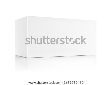 Realistic cardboard packaging box mockup. Vector illustration isolated on white background. Can be use for medicine, food, cosmetic and other. Ready for your presentation. EPS10.