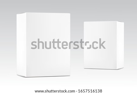 Realistic cardboard packaging box mockup. Vector illustration on grey background. Can be use for medicine, food, cosmetic and other. Ready for your presentation. EPS10.