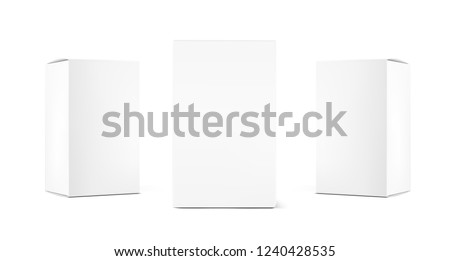 Realistic cardboard packaging boxes mockup. Vector illustration isolated on white background. Can be use for medicine, food, cosmetic and other. Ready for your design. EPS10.
