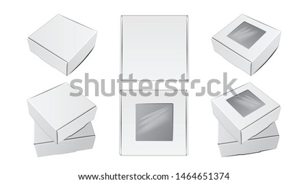Realistic Cardboard Square Boxes. Top view. Vector package for software, electronic device or gift pack for your design