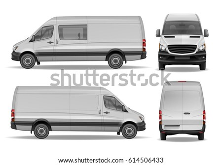 Realistic Cargo Delivery Van vector template. Easy to edit and change van color. High detailed Cargo Minivan isolated.
