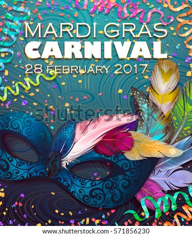 Realistic carnival mask, feathers, for Mardi Gras invitation flyers, web banner, separated elements under mask. Vector illustration,colorful background. Mardi Gras Carnival 28 february 2017