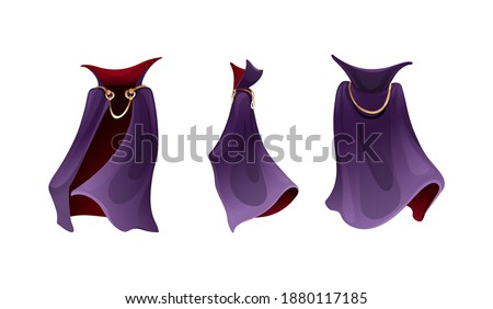 Realistic carnival vampire costume of cloak costume, superhero cape, Dracula vampire carnival costume. Carnival costume, mockup festive clothing front back behind view. Masquerade fancy dress vector