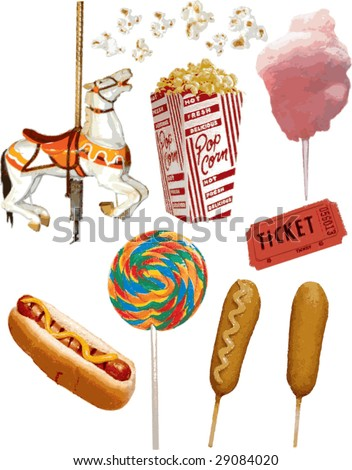 Realistic Carnival Vector Items