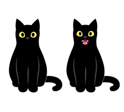 Realistic cartoon black cat sitting and meowing. Cute cat saying