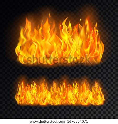 Realistic cartoon fire or campfire, bonfire on transparent background. Icon for flame and burn. Vector illustration for heat or hot, flammable emoticon. Fireball and flaming. Danger and hazard theme