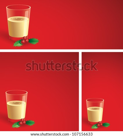 Realistic cartoon illustration of a Christmas background showing a glass of egg nog with a sprig of holly sitting next to it. Plenty of copy space.