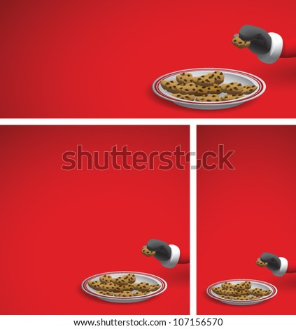 Realistic cartoon illustration of a Christmas background showing Santa Claus reaching into the frame and taking a chocolate chip cookie from a serving plate. Plenty of copy space.