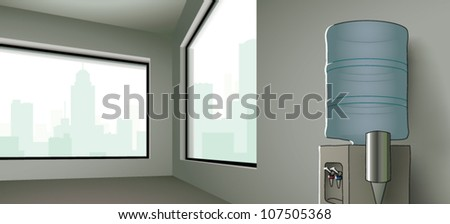 Realistic cartoon illustration of a corner office with a water cooler sitting on the wall.