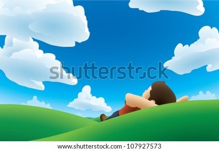 Realistic cartoon illustration of a man lying on his back on a grassy hill, watching the clouds. - stock vector