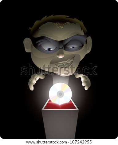 Realistic cartoon illustration of a professional thief about to steal a CD, which could represent stealing music, software, movies, or other data. Solid color background can be resized for copy space.