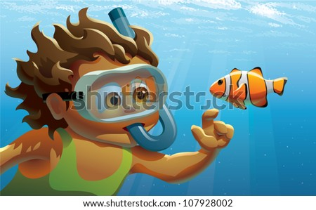 Realistic cartoon illustration of a young girl snorkeling and reaching out to touch a single clown fish, viewed underwater.