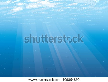 Realistic cartoon illustration of an empty underwater background just below the water's surface with rays of light shining through the water.