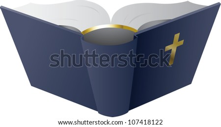 Realistic cartoon illustration of an open hardcover bible.
