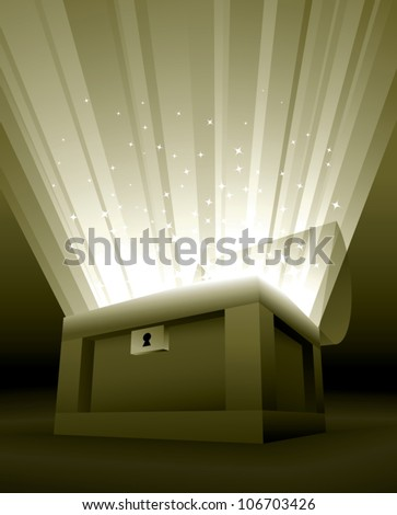 Realistic cartoon illustration of an open treasure chest with golden rays of light and sparkles shooting out of it.