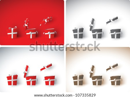 Realistic cartoon illustration of Christmas gift boxes in various stages of being opened, in color, black and white, and sepia tone. - stock vector