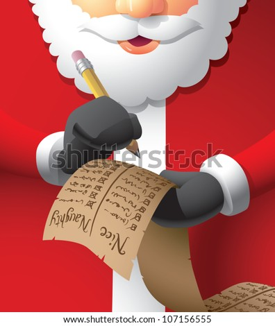 Realistic cartoon illustration of Santa Claus double checking his naughty/nice list.