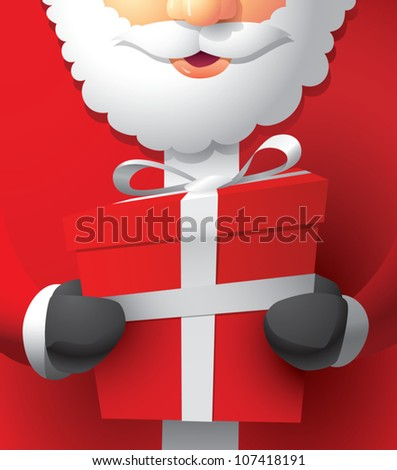 Realistic cartoon illustration of Santa Claus holding a wrapped Christmas gift.