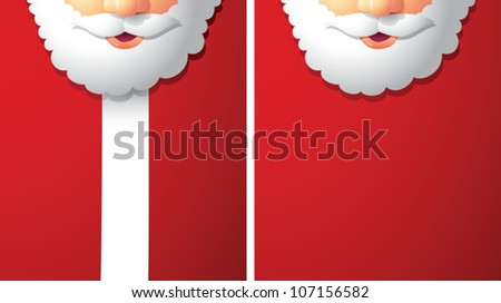 Realistic cartoon illustration of Santa Claus, meant to be used as a background. Plenty of copy space.