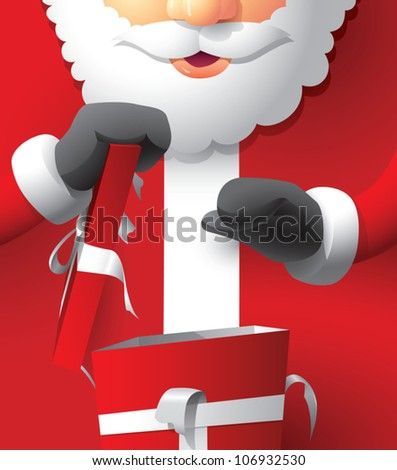 Realistic cartoon illustration of Santa Claus opening a Christmas present.