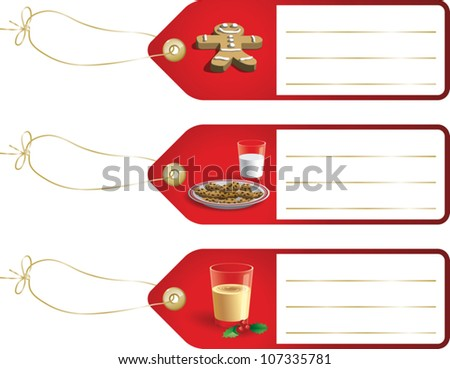 Realistic cartoon illustration of some Christmas gift tags featuring images of a gingerbread cookie, a plate of cookies and milk, and a glass of eggnog. Space is provided for your own text.